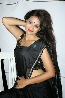 Actress Bhanu Pictures in Black Saree at Tanu Monne Vellipoyindi Audio Launch 0085