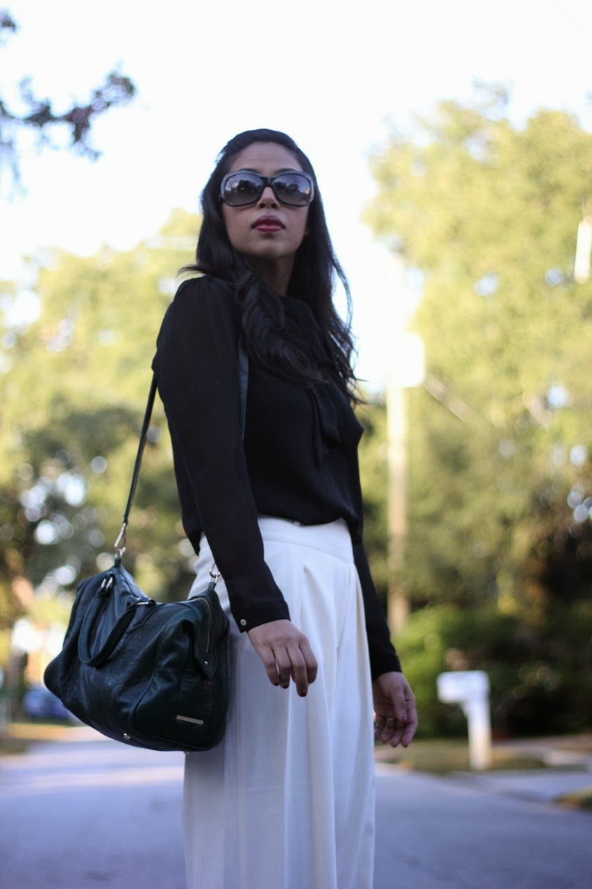 wide leg white pleated pant robert rodriguez high waist ivory black marc jacobs sunglasses lauren merkin bag