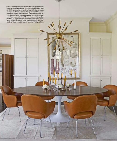 white modern dining room gold sputnik chandelier round table