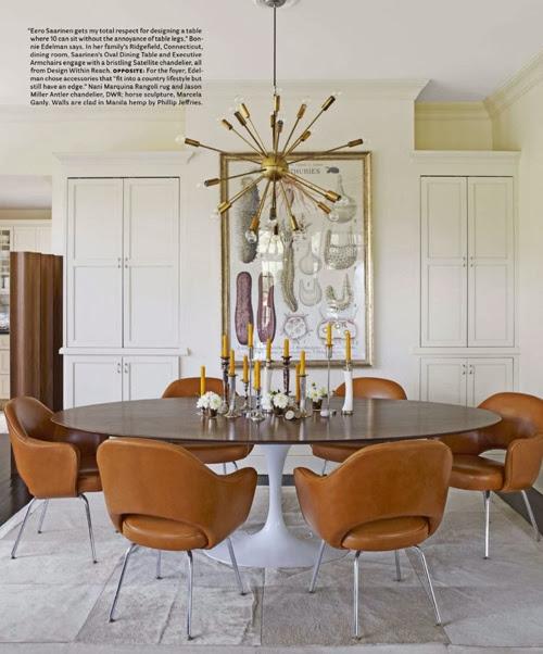 white modern dining room gold sputnik chandelier round table