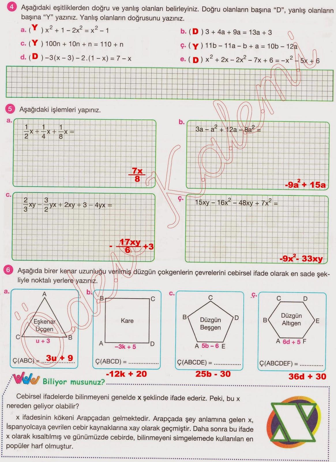 Aydın Yayınları 7. Sınıf Matematik Çalışma Kitabı Cevapları