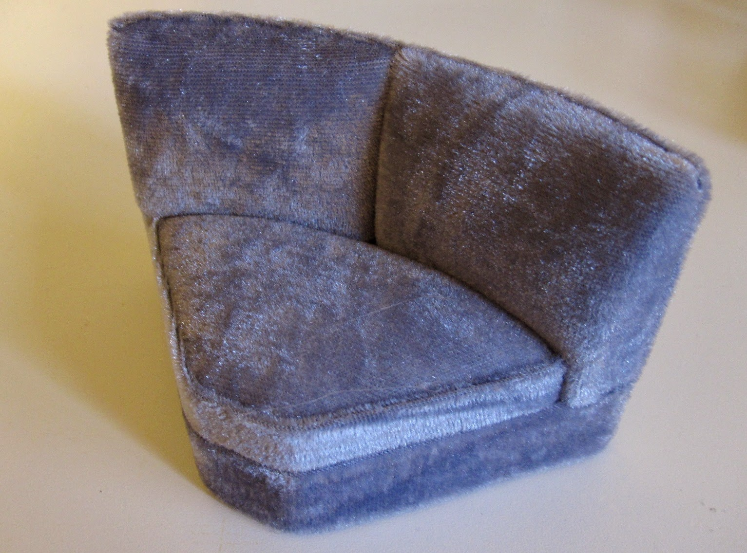 Modern dolls house miniature grey velvet sectional sofa corner piece