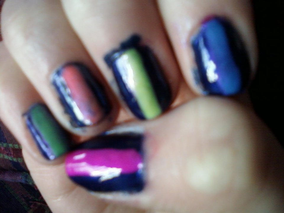 Abby\'s Nail Designs: Navy Blue Nails with Neon Stripes