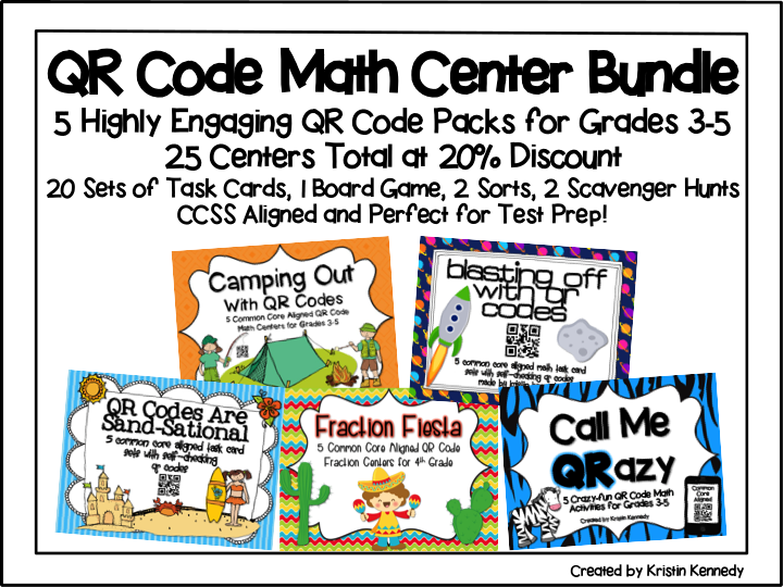 http://www.teacherspayteachers.com/Product/QR-Code-Math-Center-Bundle-5-Packs-at-20-Discount-25-Centers-Total-1519483