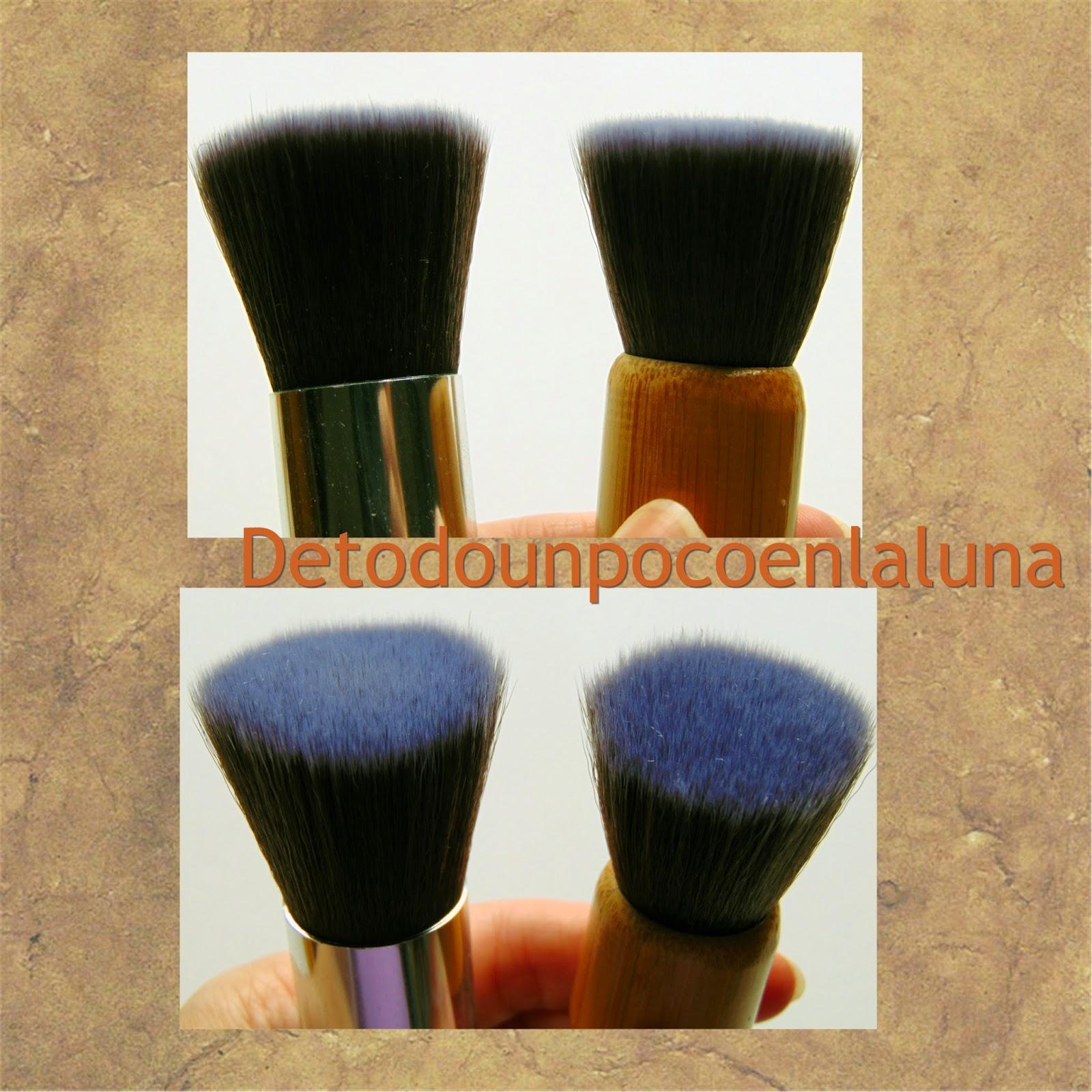 Set 11 brochas de maquillaje de bambú de Buyincoins comparación kabukis planas
