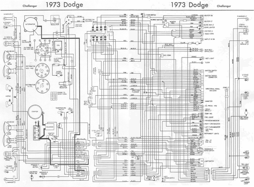 Dodge+Challenger+1973+Complete+Wiring+Diagram dodge challenger 1973 complete wiring diagram all about wiring 1970 dodge charger wiring diagram at gsmx.co
