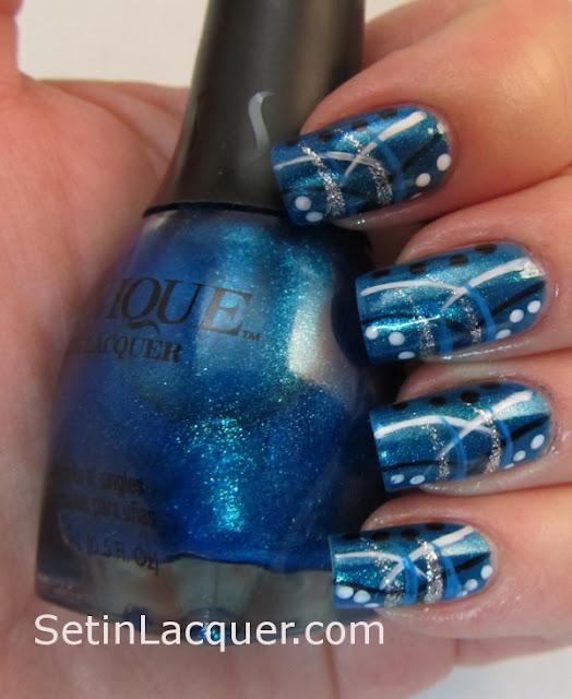 Random stripes and dots nail art