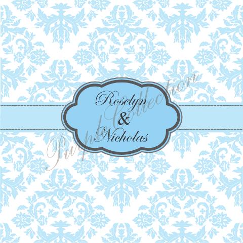 Square Card Floral Damask Design Wedding Invitation Cards, Square Card, Floral, Damask, Wedding, Invitation Card, Wedding Invitation Card, Roselyn & Nicholas, Roselyn, Nicholas, Blue