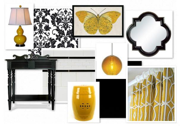 Adore decor black and yellow bathroom