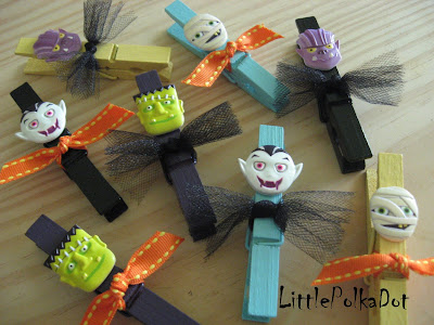 halloween crafts: funny clothes pins for kids