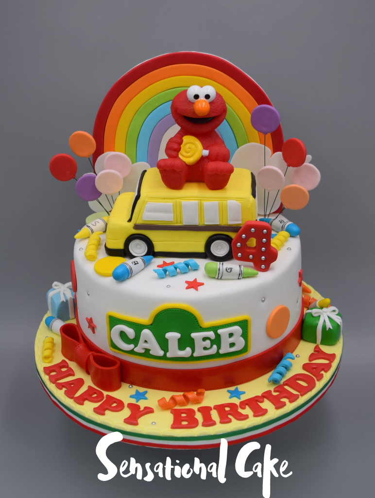 The Sensational Cakes Elmo With School Bus And Rainbow Boy Birthday