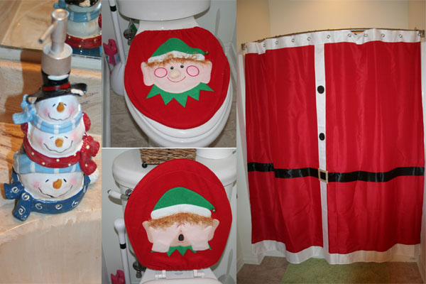Snowman Soap Dispenser Elf Toilet Cover And Santa Shower Curtain That Seat Always Is A Hit When We Have People Over