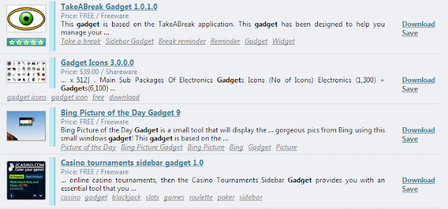 lista gadget windows 7