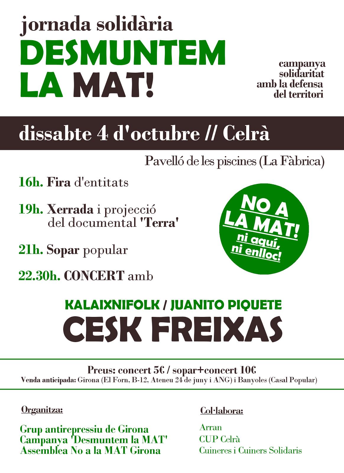 4 d'octubre.Jornada solidària contra la MAT ( Celrà)
