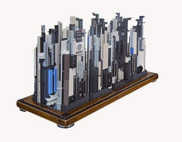 Artist taps old computer parts for techie cityscapes