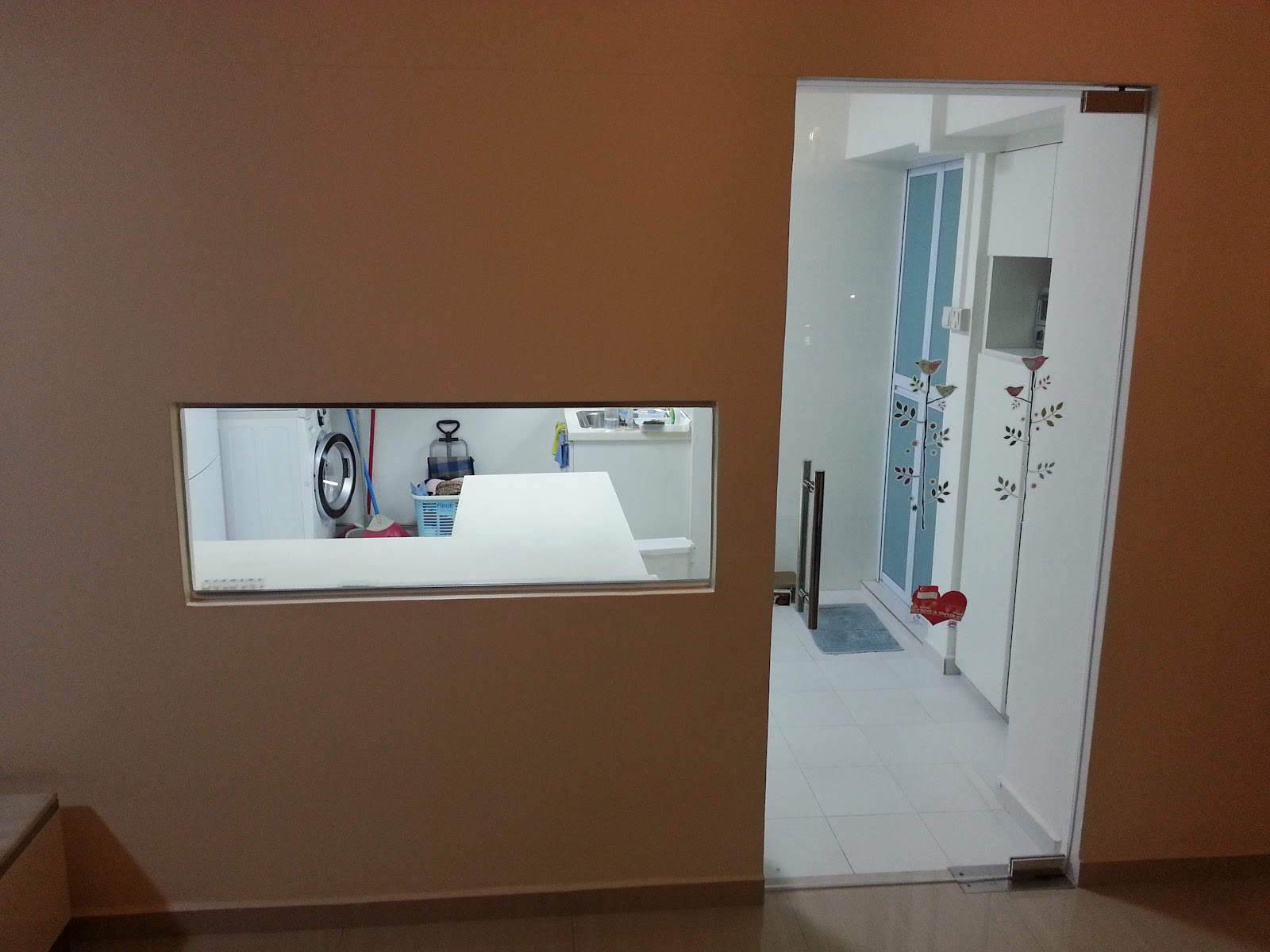 Our hdb flat renovation in 2009 glass door and kitchen living window Kitchen door design hdb