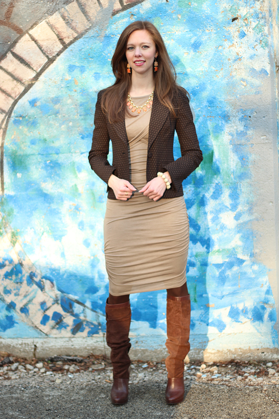 StyleSidebar - Brown Blazer with Oatmeal Sweater Dress