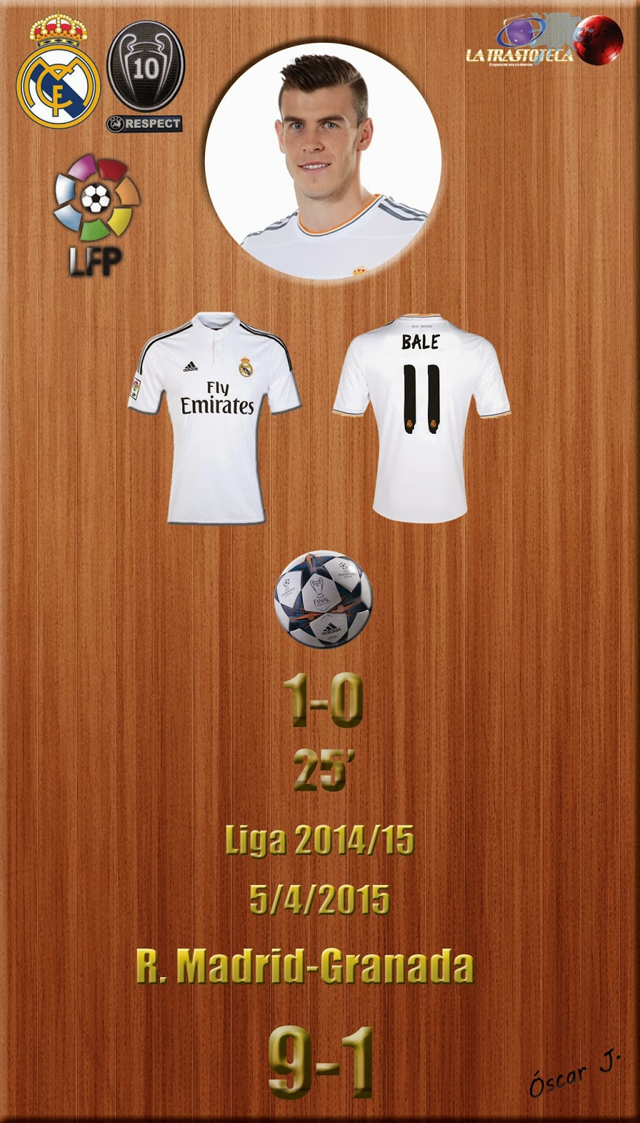 Gareth Bale (1-0) - Real Madrid 9-1 Granada - Liga 2014/15 - Jornada 29 - (5/4/2015)