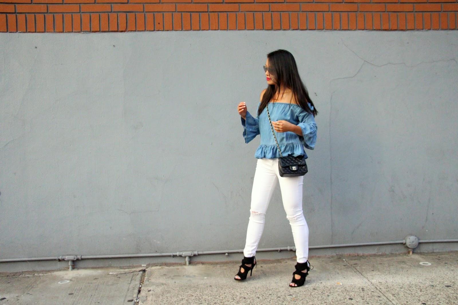 Zara chambray off the shoulder Mother Denim white jeans Aquazzura fringe sandals