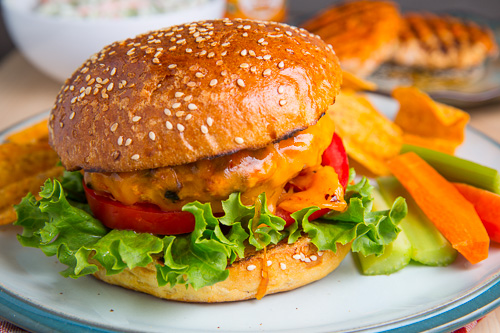 Buffalo Chicken Burgers on Closet Cooking