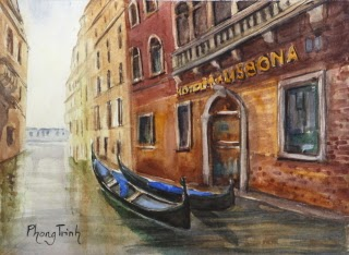 Gondola,Venice, Italy Seascapes Watercolor Painting on paper