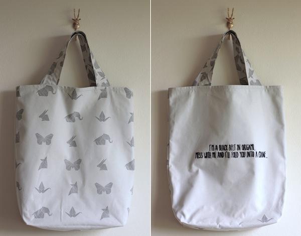 Ro Guaraz · bolsa origami · 21 · frente y dorso