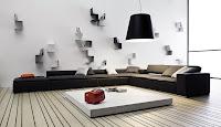 decoración sala blanco y negro