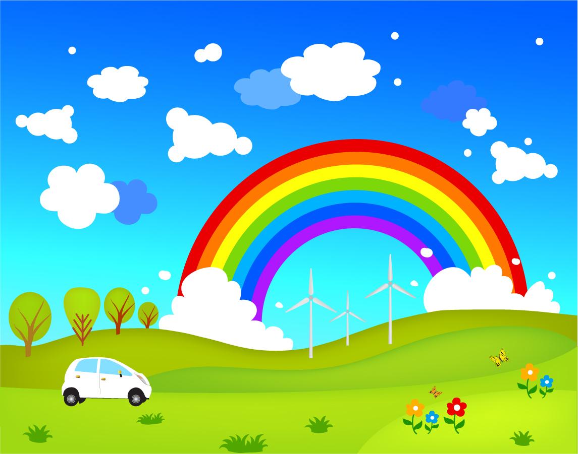 虹の架かった緑の草原の風景 cartoon hill non-urban scene landscape イラスト素材