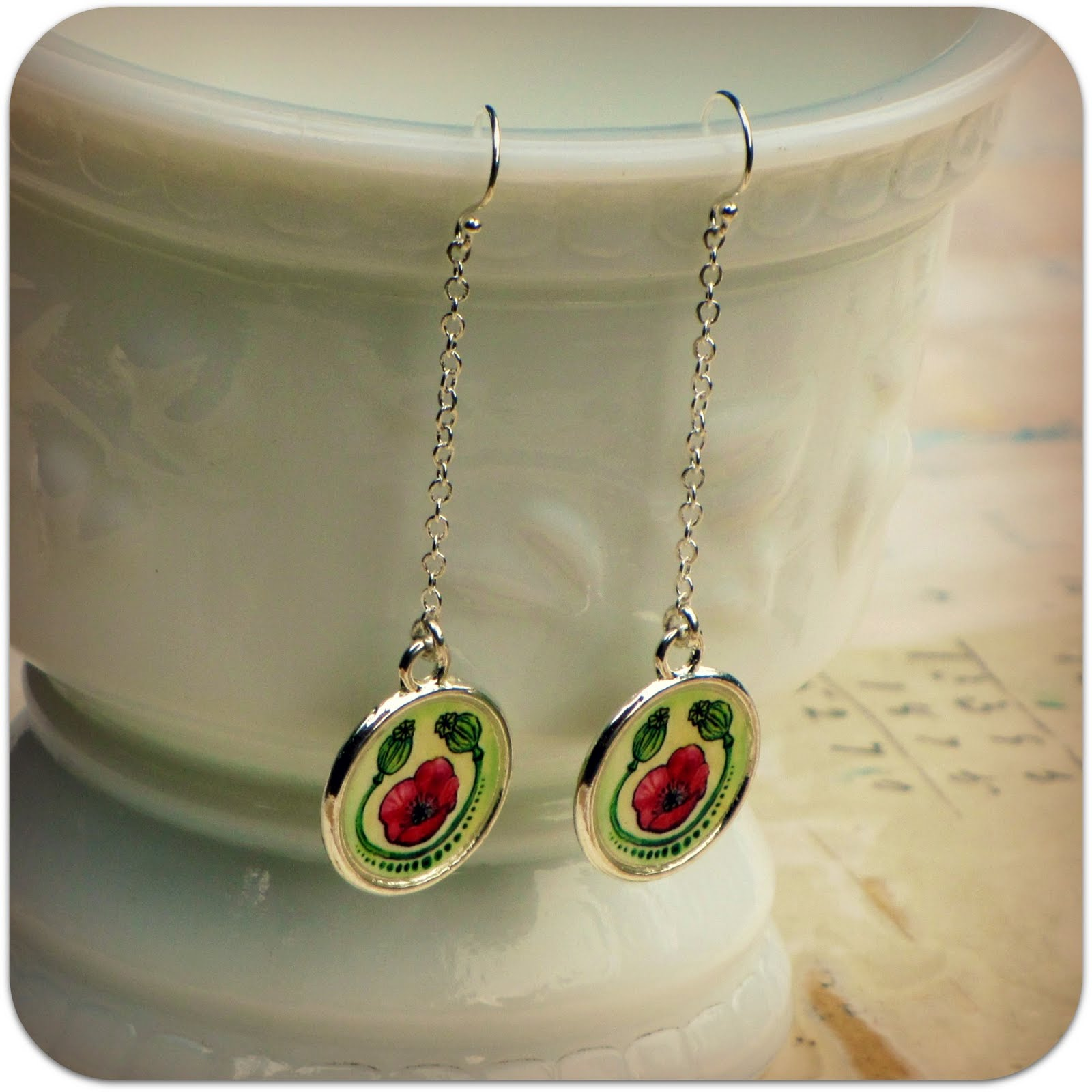Sweet Mess: poppy earrings & folk pattern earrings