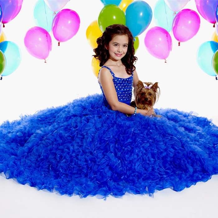 Royal blue Long Junior Bridesmaid Dress with stunning ruffles and beaded accents