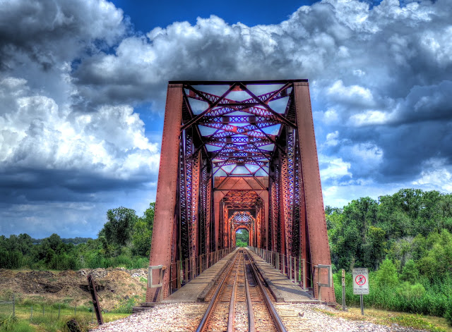 Rusty Red Train Bridge - Straight on perspective - Richmond Texas