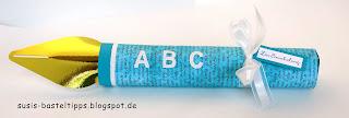 ein Füllfederhalter als Geschenkverpackung, Curvy Keepsake Box von Stampin' Up! zum Schulbeginn, ABC