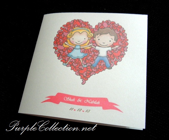 cartoon wedding card, cute wedding card, malay wedding card, kad kahwin kartun, kad kahwin cantik, kad kahwin moden, modern wedding cards, wedding invitation cards, heart shape wedding card, pink wedding, white wedding, one fold card, printing wedding card, chinese wedding card
