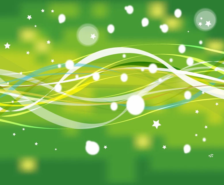 Esstisch Nature Line ~ Free Vector がらくた素材庫 緑の曲線と星の背景 Green Nature Line with Stars Vector Background