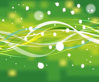 Free Vector がらくた素材庫: 緑の曲線と星の背景 Gree...  緑の曲線と星の背