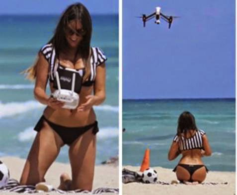 Claudia Romani, Selfie Using Drone in Beach
