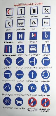 العلامات الإرشادية والتنظيمية للرخصة المصرية