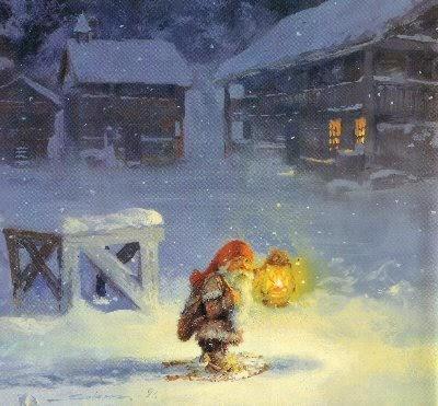 den gamle by julekort