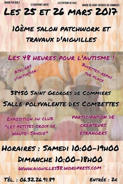 Salon patchwork et travaux d'aiguilles à Saint Georges de Commiers les 25 et 26 mars10ème anniversa