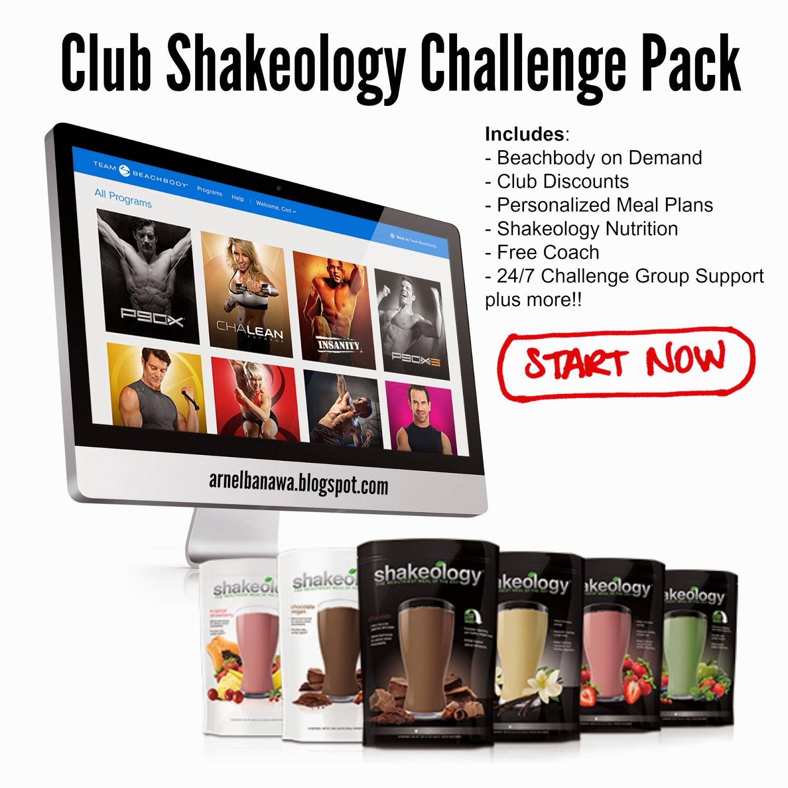Team Beachbody Club Shakeology Challenge Pack - Beachbody on Demand Challenge Pack