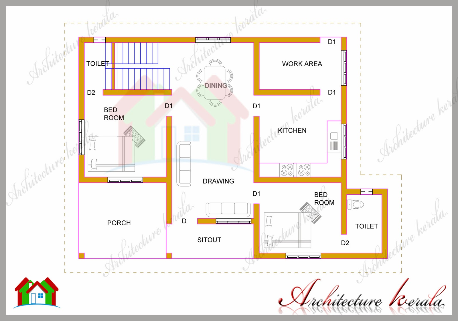 1200 square feet two bedroom house plan and elevation for Kerala style 2 bedroom house plans