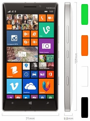 Nokia Lumia 930, dimensiones y colores disponibles