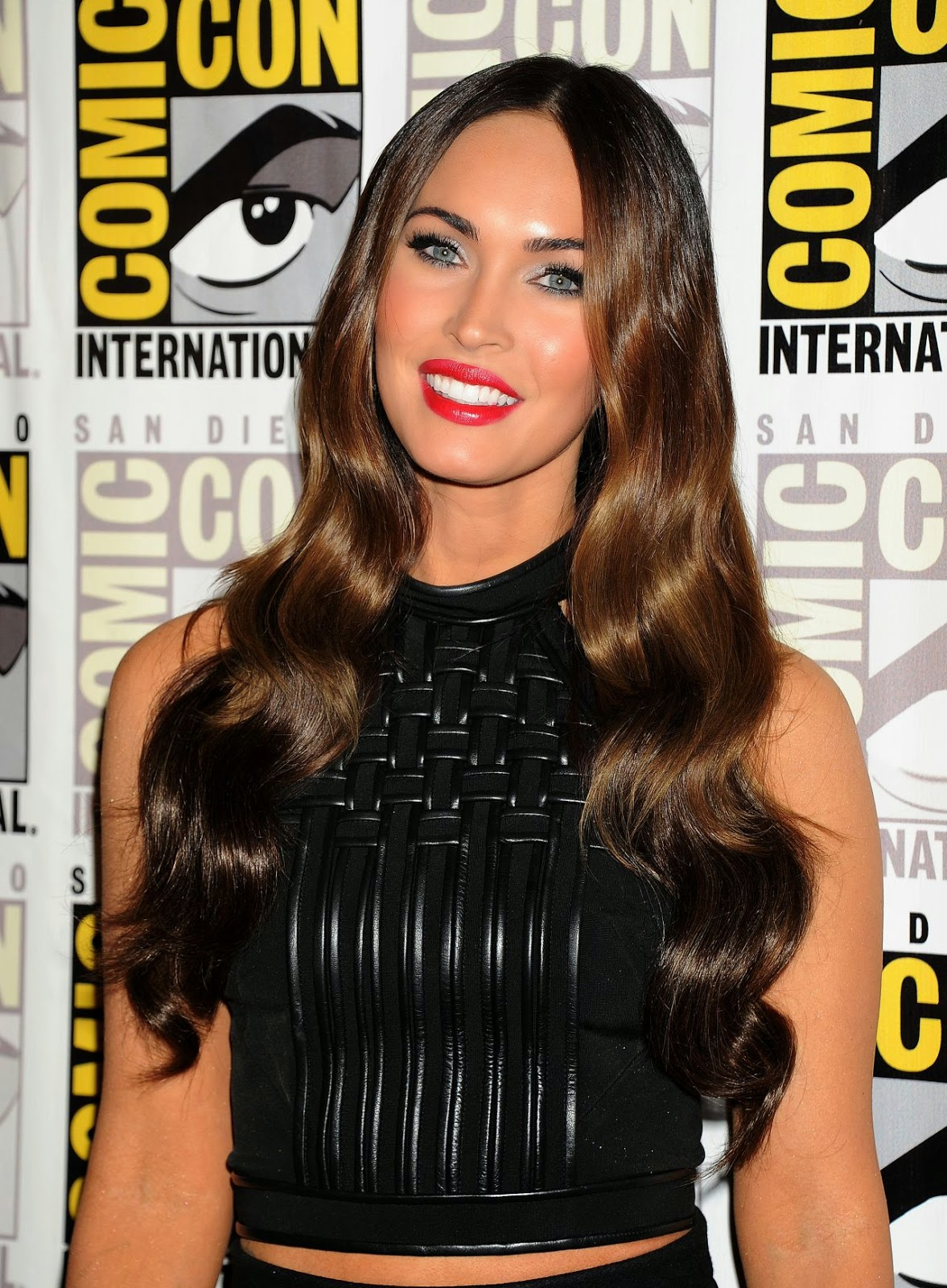 Megan Fox in a sexy leather dress at the 'Teenage Mutant Ninja Turtles' Press Line at Comic-Con 2014