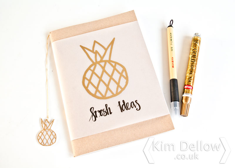DIY Pineapple Design for a notebook cover