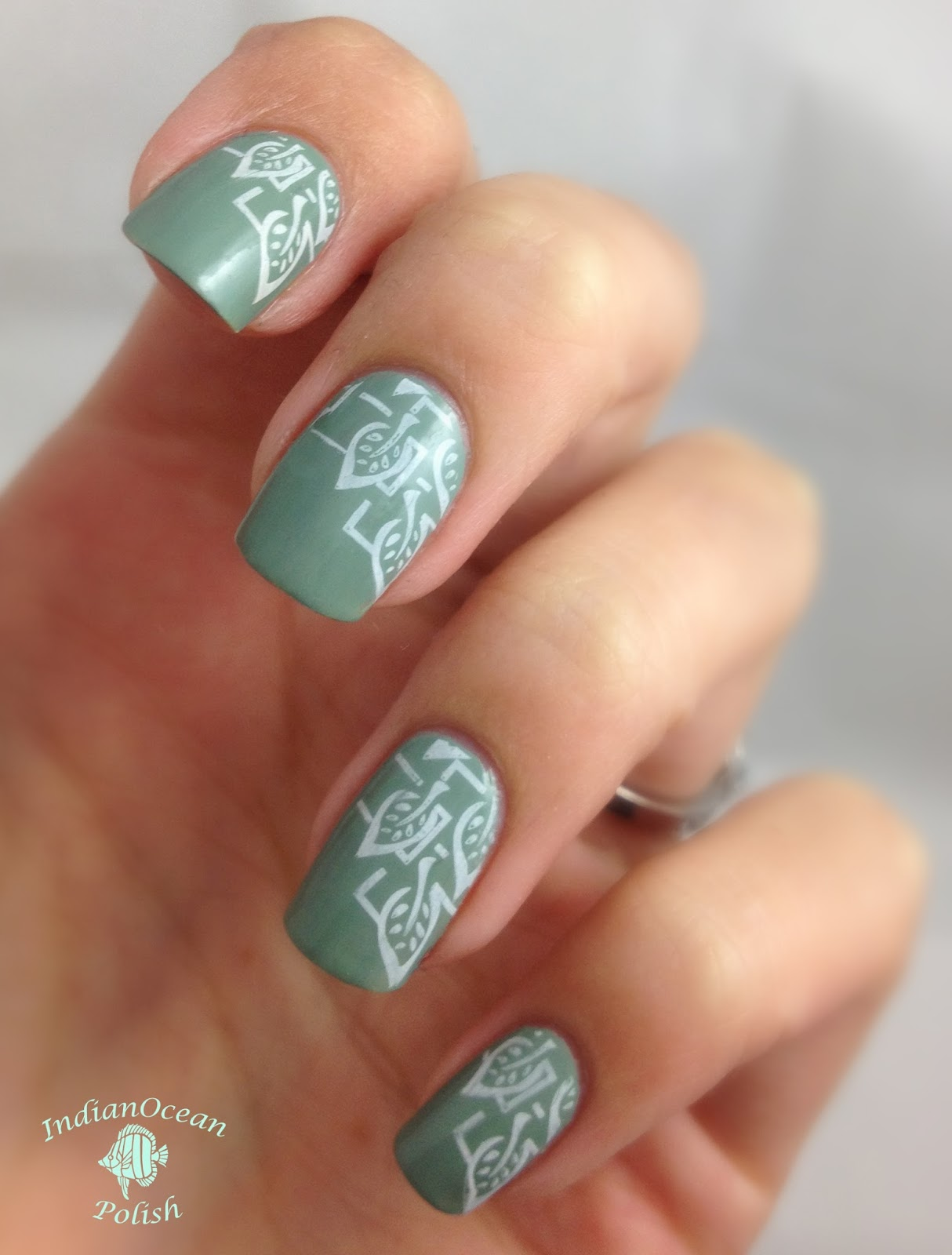 Nail Stamping Plate with Leaves