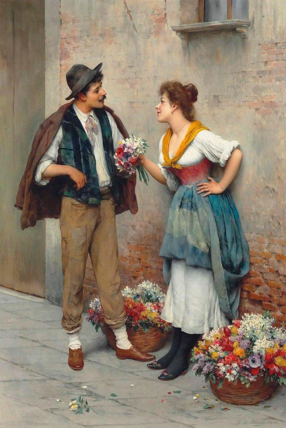 Eugene de  laas The flower seller
