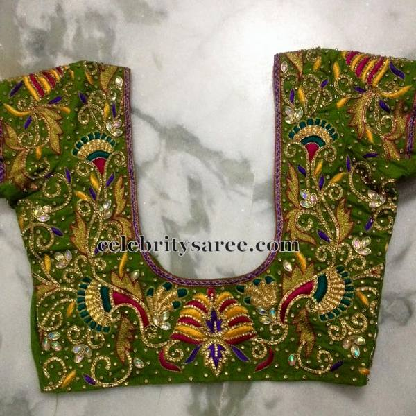 Parrot Green Blouse in Zardosi Work