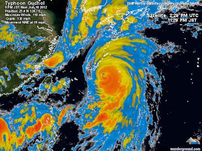 Tifón Guchol llega a Japón el 19 de Junio 2012