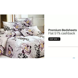 Buy Raymond And  Welsupn Bedsheets Extra 51% Cashback at  Via Paytm:buytoearn
